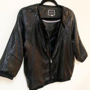 BERSHKA | Womens Black Sequin Zip Up Jacket M